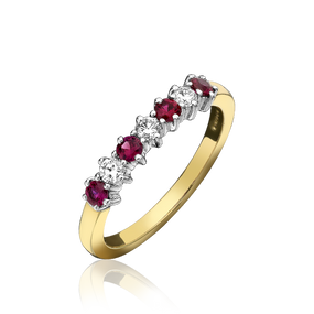 18ct Yellow Gold Ruby & Diamond Claw Set Eternity Ring