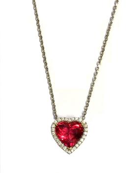 Pink Tourmaline & Diamond Heart Pendant