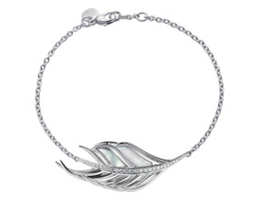 Shaun Leane Silver, Diamond & Mother of Pearl Feather Bracelet.