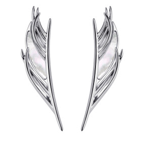 Shaun Leane Silver & Mother of Pearl Feather Earrings