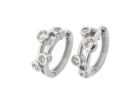 Bubble Diamond Hoop Earrings in 18ct White Gold