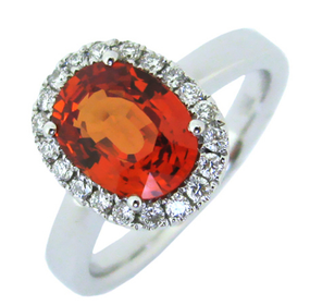 Orange Sapphire and Diamond Cluster ( Prices from £4500.00)