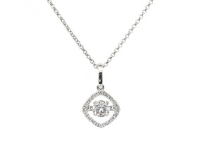 Shimmering Diamond Pendant set in 18ct White Gold