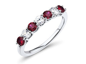 18ct White Gold Ruby & Diamond, Claw Set Eternity ring