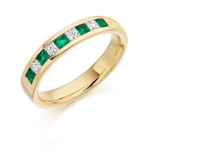 Emerald and Princess Cut Diamond Eternity Ring
