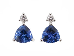 Tanzanite and Diamond Earrings in 18ct White Gold