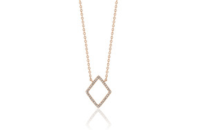 18ct Rose Gold Diamond Geometric Pendant