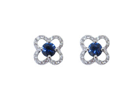Quatrefoil Sapphire and Diamond Cluster Earrings
