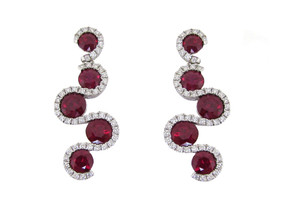 Ruby and Diamond Ribbon Drop Earrings