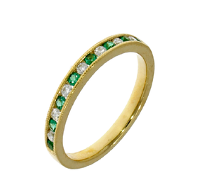 Emerald & Diamond 18ct Yellow Gold Eternity Ring
