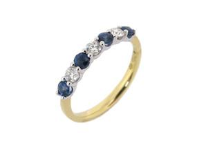 Sapphire and Diamond Seven Stone Half Eternity Ring (£950.00)