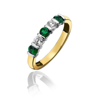 Emerald and Diamond Five Stone Half Eternity Ring