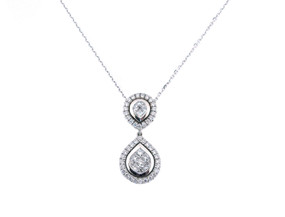 Pear Shaped Diamond Cluster Pendant with an 18ct White Gold Chain