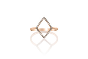 18ct Rose Gold Geometric Diamond Ring