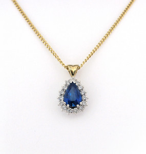 Pear cut Sapphire and Diamond Cluster Pendant