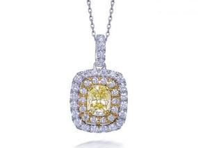 Yellow And White Diamond Pendant
