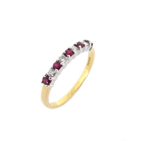 Ruby and Diamond Claw Set Half Eternity (£725.00)