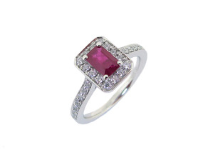 Ruby and Diamond Cluster with Diamond Shoulders (from £1590.00)