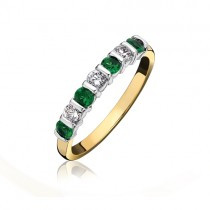Emerald & Diamond Bar Set Eternity Ring