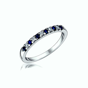 Sapphire and Diamond, 18ct White Gold Band