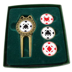 PRO DIVOT TOOL SET WITH ASSORTED BALLMARKERS -  Poker Chips Classic