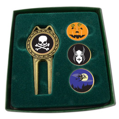 PRO DIVOT TOOL SET WITH ASSORTED BALLMARKERS - HOLIDAY- HALLOWEEN
