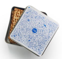 Matzah Tin Storage Box - Haggadah