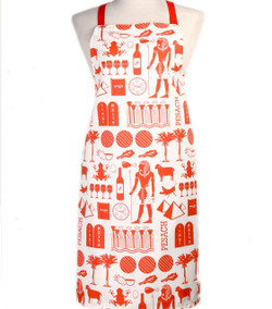 Pharaoh Print Apron - Brick Red