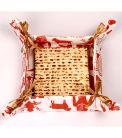 Pharaoh Print Matza Basket - Brick Red