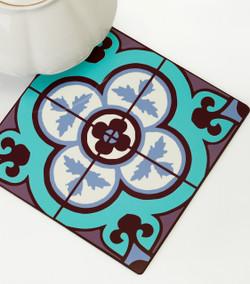 Flower Tile Trivet - Aqua