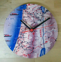 Retro Map of Israel Clock