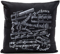 Music Notes Black Cushion