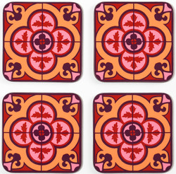 Flower Tile Set of 4 Coasters - Bordeaux