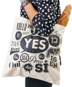 Yes hand printed canvas tote