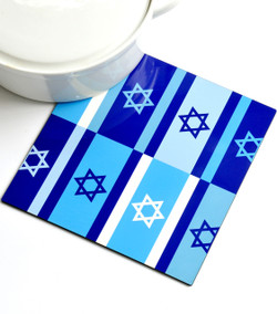 Trivet - Blue Israeli Flags