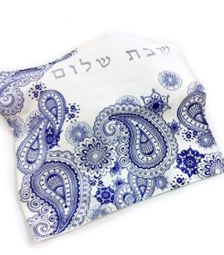Challah Cover - Blue Paisley.