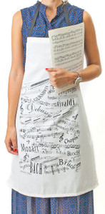 Apron - Musical Notes White