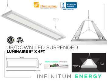 "Up/Down Led suspended luminaire 8"" X 4FT"