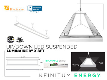 "Up/Down Led suspended luminaire 8"" X 8FT"