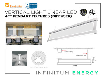 4FT Suspended vertical LED light (Diffuser)