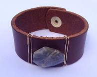 Leather Cuff Bracelet - Brown and Amazonite Stone