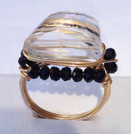 Clear Quartz Black Bead Gold Ring