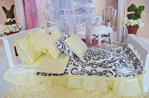 SHABBY CHIC GREY DAMASK WITH YELLOW POM POM ACCESSORIES