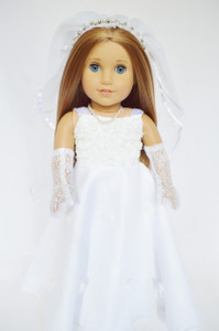 Wedding Gown for American Girl Dolls Gem Veil and Gloves