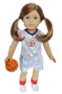 White Basketball Outfit for American Girl Dolls Girls