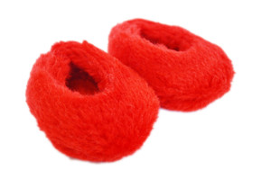 RED FUZZY SLIPPERS FOR AMERICAN GIRL DOLLS