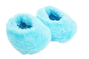 CYAN BLUE FUZZY SLIPPERS FOR AMERICAN GIRL DOLLS