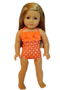 Orange Polka Dot Swimsuit for American Girl Dolls