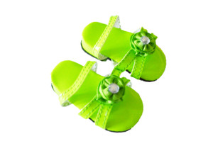 Lime Green  Triple Carnation Summer Sandals