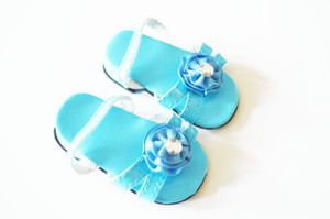 Cyan Blue Triple Carnation Summer Sandals